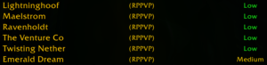 "Six RPPvP servers, only one of which is ""Medium"" population."
